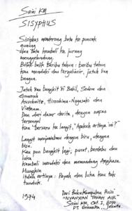 Puisi Sisyphus karya Saini KM yang ditulis tahun 1974.